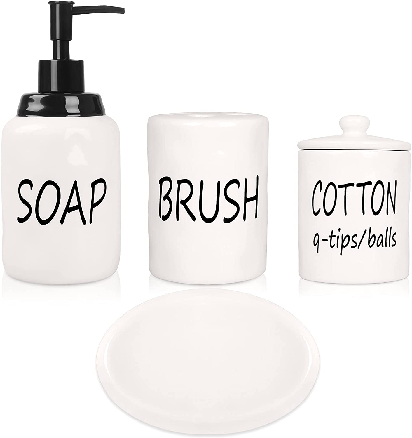 Gails Willing Bathroom Accessories Set, Ceramics Farmhouse Bathroom Decor Accessory Completes with Soap Dispenser, Cotton Jar, Vanity Tray, Toothbrush Holder (White)