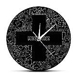 Eld Reloj de Pared Salud Hospital Cruz Decoración Símbolos médicos Reloj de Pared Latido del corazón Enfermera Doctor Regalo Medicina Droguería Reloj Colgante de Pared Pascua