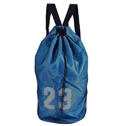 Baloncesto Fútbol Bolsa con Cordón Impermeable Malla Deporte Mochila de Almacenamiento Mochila Saco de Gimnasio Paquete con Correa Ajustable para Entrenamiento Deportivo Ejercicio(Azul)