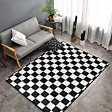 O-X_X-O Home Decor Non-Slip Indoor Outdoor Floor Mat Race Waving Checkered Flag Large Area Rug Machine Washable Carpet Decor Living Room Dining Room Kids Room Play Room Carpet 60 X 39 Inches