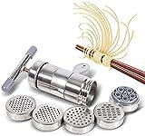 Máquina para hacer fideos de acero inoxidable, prensa manual para fideos, exprimidor de frutas y verduras, prensa para pasta, herramienta de cocina (1 x fabricante + 5 x molde)