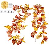 Idefair 2 Pack Fall Leaf Garland Artificial Hanging Fall Leaves Garland Outdoor Fall Decorations for Home Clearance Fall Garland for Autumn Thanksgiving Harvest Halloween Garden Wall Decor
