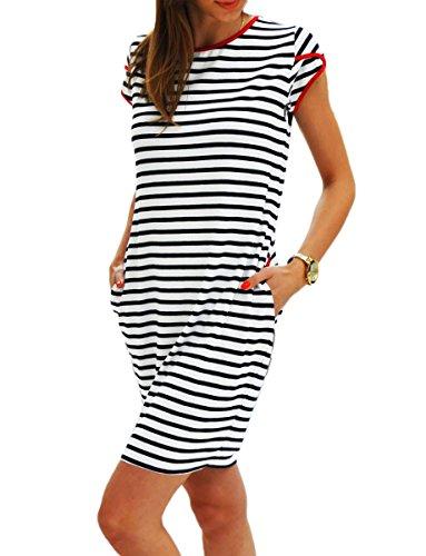 Sommerkleider Damen Kurzarm Kleider Jerseykleid Freizeitkleid Mini Dress Strandkleid Maritime S M L XL (343, M)