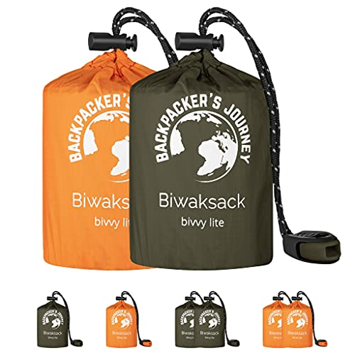 Backpacker's Journey Saco de dormir ultraligero e impermeable ideal para camping, senderismo y aventuras (naranja y verde)