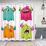 MAYUES Cortina de Ducha Impermeable Monstruos de Dibujos Animados Vector Set diseño Aislado Cortinas baño con Ganchos Lavable a Máquina 62x72 Inch