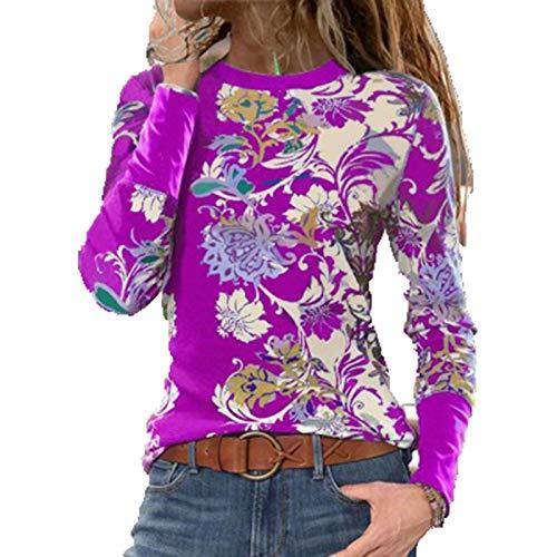 SLYZ 2021 Blusa De Camiseta De Manga Larga con Estampado De Cuello Redondo Damas Europeas Y Americanas