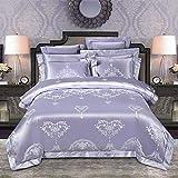 yaonuli Baumwolle Satin Jacquard vierteilige Baumwolle Hohle High-End-Hochzeitssuite Himmelblau 1,8 m Bettbezug 200 * 230 cm Blätter 250 * 260 cm Kissenbezug 48 * 74 * 2