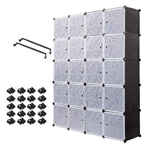 Armario portátil Meerveil, estante de almacenamiento, cubos de almacenamiento modulares de plástico de metal estable, fácil montaje para ropa, accesorios, juguetes (negro, 20 cubos)