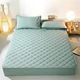 BOLO Suave cama hecha de 100% algodón, protector de colchón transpirable, protector de colchón, protector de colchón, sin protector de colchón crujiente, 150 x 200 + 30 cm