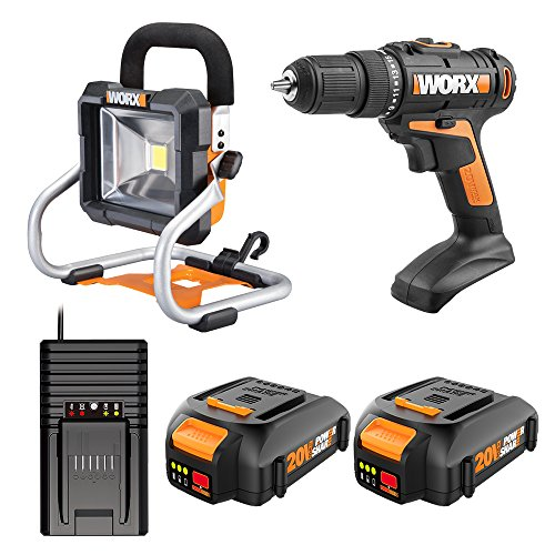 Worx WO7041 20V Drill and Worklight Combo Kit with Two 20V Batteries