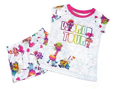 American Marketing Trolls World Tour Movie Girl's Heather Gray Pajama Shorts Set (Large 10/12)
