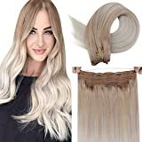 LaaVoo Remy Halo Hair Extensions Balayage Halo Blonde Human Hair Extensions Ash Blonde Balayage Platinum Blonde Human Hair Extensions Halo Real Hair with Clips Hidden Crown Double Weft 20' 100g