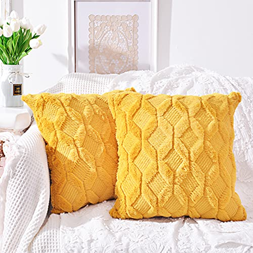 SEVEN HITECH Juego de 2 fundas de cojín decorativas de terciopelo, estilo retro, para sofá, dormitorio, oficina, con cremallera oculta, 55 x 55 cm, color amarillo