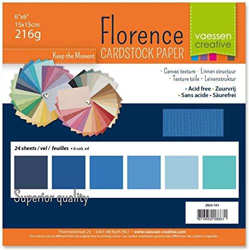 Vaessen Creative Florence Scrapbook-Papier 216 g 6x6-x24 Blatt-Multipack, blau, Paper, Multicolor, 15 x 15 x 0.8 cm