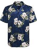 Hotouch Mens Hibiscus Tropical Shirt Aloha Hawaiian Shirts Satin Casual Button Down Shirt Navy Blue L