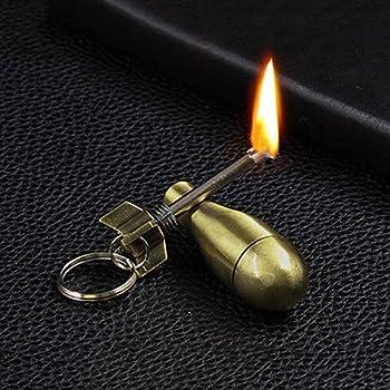 SSyang Briquet en Métal avec Porte-Clés,Portable Reusable Waterproof Matchstick Fire Starter,Kerosene Refillable Lighter,Allume-feu Briquet Keychain for Outdoor Tool