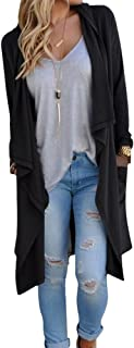 Women's Solid Knitted Open Front Long Trench Coat Cardigan