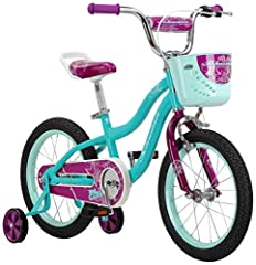 This Schwinn Elm girl's bike with 16-inch wheels is designed for children 3 - 5 years old or 38 - 48 inches tall. The Elm is perfect for riding to the park or riding on the sidewalk around the neighborhood With Schwinn's SmartStart Technology, this b...