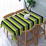 Mantel rectangular de microfibra, color negro, gris carbón y verde lima, lavable, para cocina, comedor, fiesta, Navidad, buffet, picnic