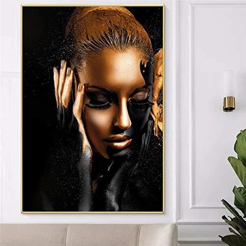 BGFDV Traje Dorado Piel Negra Moda Mujer Africana Pintura al óleo sobre Lienzo Impresiones de Carteles Imagen artística en la Pared Decorar la Sala de Estar