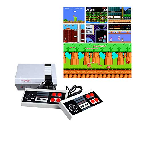 Q&K Classic Video Game Console, Mini Console -Built-in with 620 Retro Classic Games Dual Players Mode Console and Nostalgic Arcade Games with 2 Controllers Handheld Games for Kids & Adults (Small)