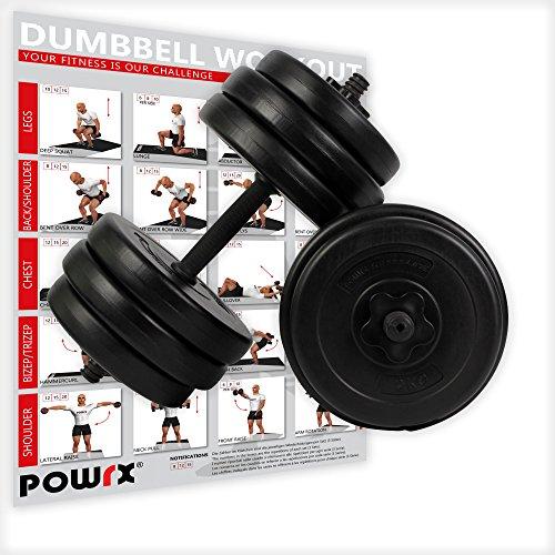 POWRX Kurzhantel (Paar) | 2er Set 20kg 30kg 40kg | Rutschsichere, gerändelte Griffe | Hantelset mit Sternverschluss (2 x 15 kg)