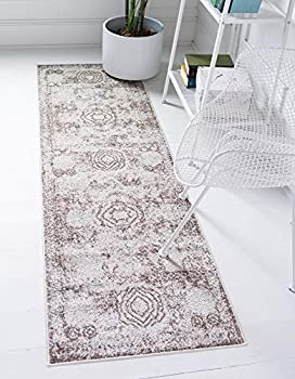 Rugs.com Dover Collection Rug – 6 Ft Runner Light Brown Low-Pile Rug Perfect for Hallways Entryways