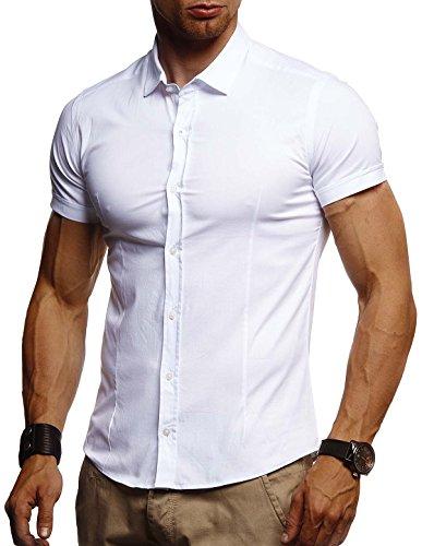 Leif Nelson Herren weißes Hemd Slim Fit Kurzarm Schwarzes Männer Stretch Kurzarmhemd Freizeithemd Jungen Kurzarmshirt Sommerhemd Business T-Shirt Freizeit Party LN3520 Weiß X-Large