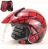 FQXM, casco da moto per bambini, casco fuoristrada, casco e guanti, adatto per bambini da 3 a 8 anni