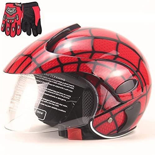 FQXM Casco de motocicleta para niños, casco todoterreno, casco de moto para niños, guantes y