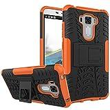 TiHen Handyhülle für Asus Zenfone 3 Laser ZC551KL Hülle, 360 Grad Ganzkörper Schutzhülle + Panzerglas Schutzfolie 2 Stück Stoßfest zhülle Handys Tasche Bumper Hülle Cover Skin mit Ständer -Orange