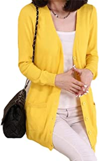 Women Fashion Casual Loose Solid Color Button with Pockets Long Sleeves Knitted Cardigans Sweaters
