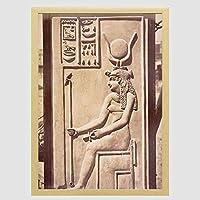 装飾画 ビンテージ写真イシスエジプトの女神彫刻Heiroglyphsエジプト ポスター 部屋飾り インテリア絵画 木製フレーム付 部屋装飾 新築祝い 贈り物 A3(33x45cm)