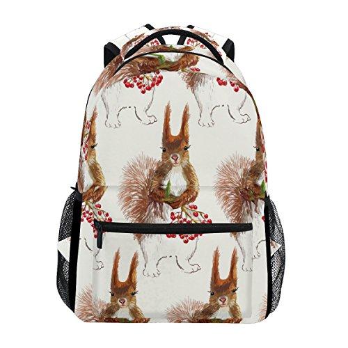 TIZORAX Eichhörnchen Cherry Gemälde Rucksack Schulranzen Segeltuch Wandern Reise Rucksack