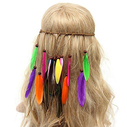 Ssowun Bandeau Plume Hippie Boho,Fletion Bandeau Plume Perles Tisser Bandeau Indien Originaire de Corde à Cheveux Headpiece Headpiece Cosplay