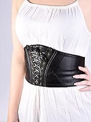 Elastic Wide Waist Belt Tied Corset Waist Band Cinch Belt with Metal Press Button, Black, 72 x 15 cm #5