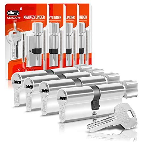 GERCAR Knaufzylinder 40/40 Schließzylinder 4er Set Gleichschließend Zylinderschloss Türschloss - inkl. 10 Schlüssel - Länge: 80 mm, A:40 B:40 - 4er Set