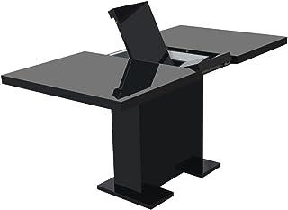 Festnight Table Extensible de Salle à Manger Noir Brillant 150 x 80 x 75 cm