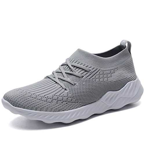 konhill Women's Knit Breathable Casual Sneakers Athletic Tennis Walking Shoes 5 US L.Gray,35