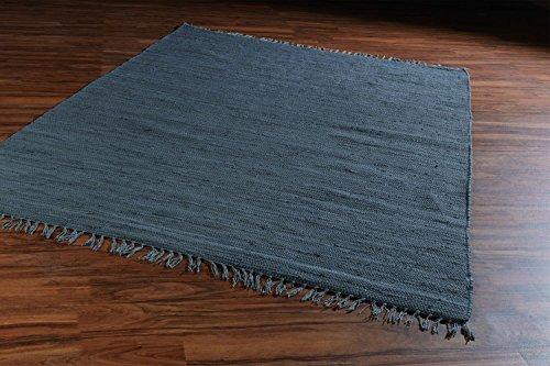 Home4You Flickenteppich Wohnzimmerteppich Handwebteppich Dunkelgrau   140x200 cm   Grau   Baumwolle