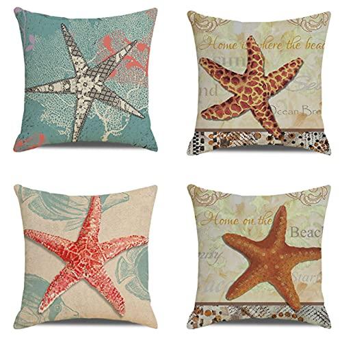 JOVEGSRVA Juego de 4 fundas de almohada decorativas de estrellas de mar de dibujos animados de 45 cm x 45 cm para sala de estar, sofá cama
