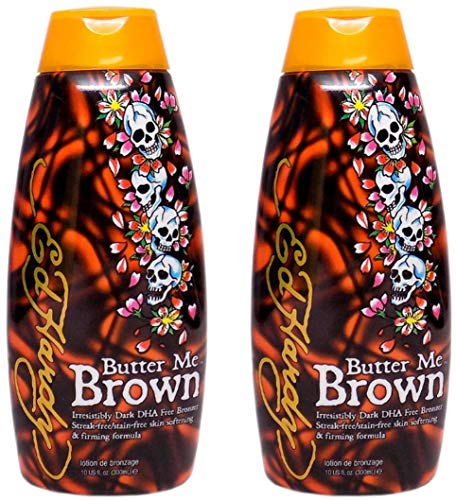 2 Ed Hardy Butter Me Brown Tanning DHA & Streak Free Bronzing Cream Lotion 10 Oz