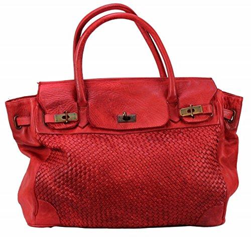 BOZANA - Borsa a mano da donna in pelle, modello Klara, colore: rosso