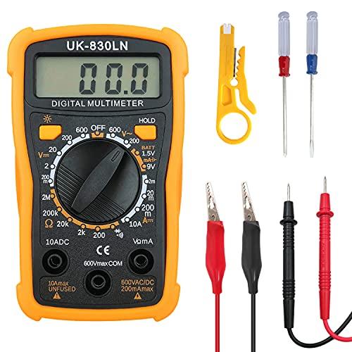 Multímetro Digital Profesional, Polímetro Digital, Medidor de Voltaje CA/CC, Resistencia, Corriente Continua, Continuidad, Diodos con Dos Cables