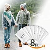 IVEUM 8er Set Regenponcho einweg transparent mit Kapuze für Damen und Männer - Regenschutz zum...