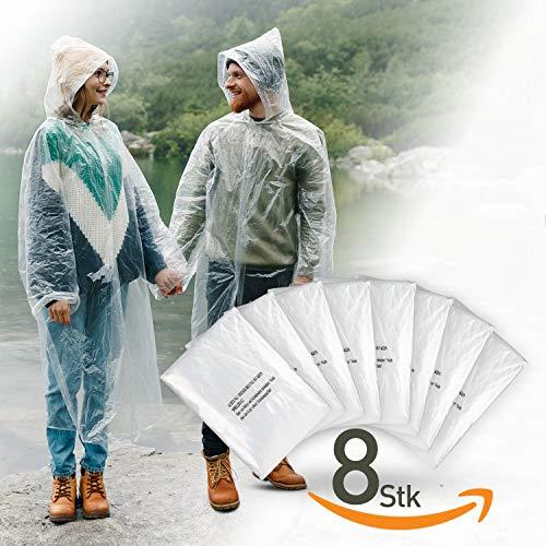 IVEUM 8er Set Regenponcho einweg transparent mit Kapuze für Damen und Männer - Regenschutz zum Wandern, für Festivals, Gartenarbeit - wasserabweisender Regencape durchsichtig