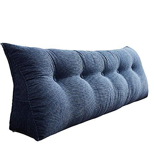 Color sólido triángulo desmontable cabecera, amortiguador lino cojines, cama cabecera dormitorio tatami lectura cojín del respaldo sofá almohada, cojín de la cabeza 180*25*50cm denim blue
