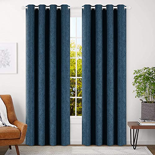 BEST DREAMCITY Linen Look Calming Blue Shade Thermal Insulated Solid...
