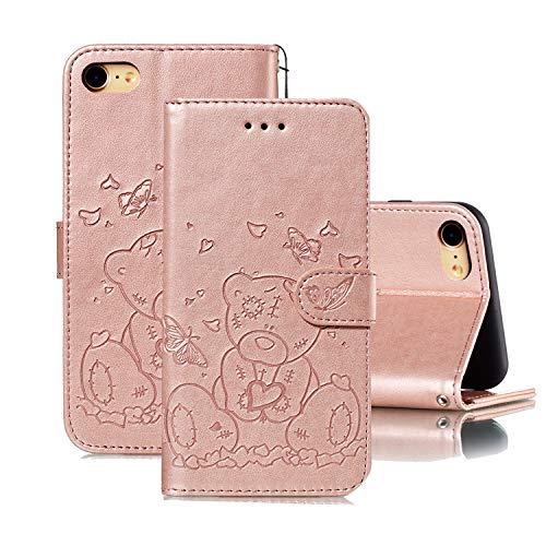 Oihxse Funda Libro Protectora para iPhone 7 Plus/8 Plus Carcasa Cuero PU Billetera con Tapa Flip Case Lindo Osa Menor Patrón Mujer Niñas Ranura de Tarjeta Cubierta con Soporte Function,Oro Rosa