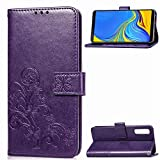 Xingyue Aile Covers y Fundas Para Samsung Note 9, Funda de cuero Telero de la cartera de la funda para Galaxy S20 Ultra S20 Plus A01 A21 ( Color : Purple Leaf , Material : For Samsung Note 9 )
